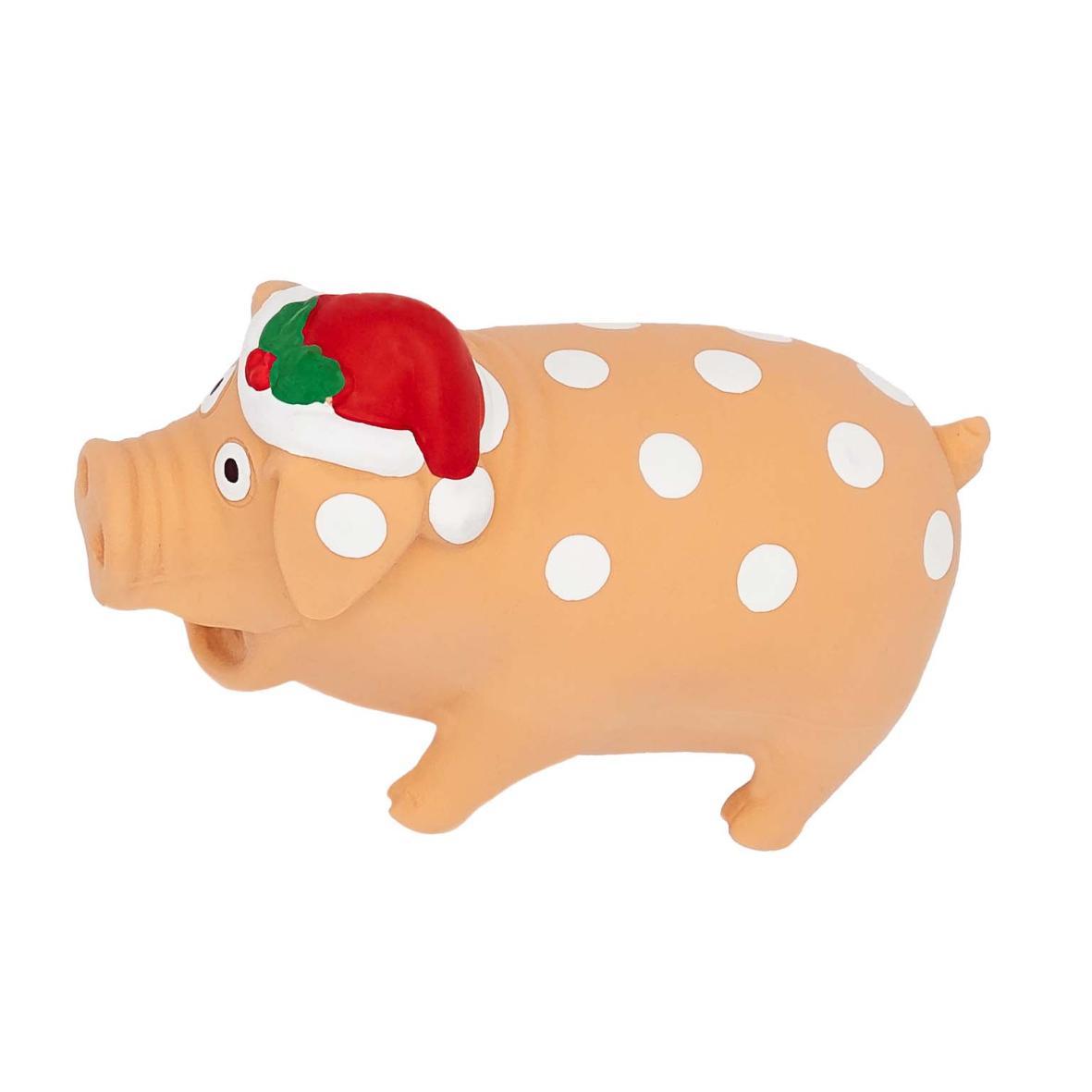 CLEARANCE Good Boy Festive Latex Piggy Cream 19cm