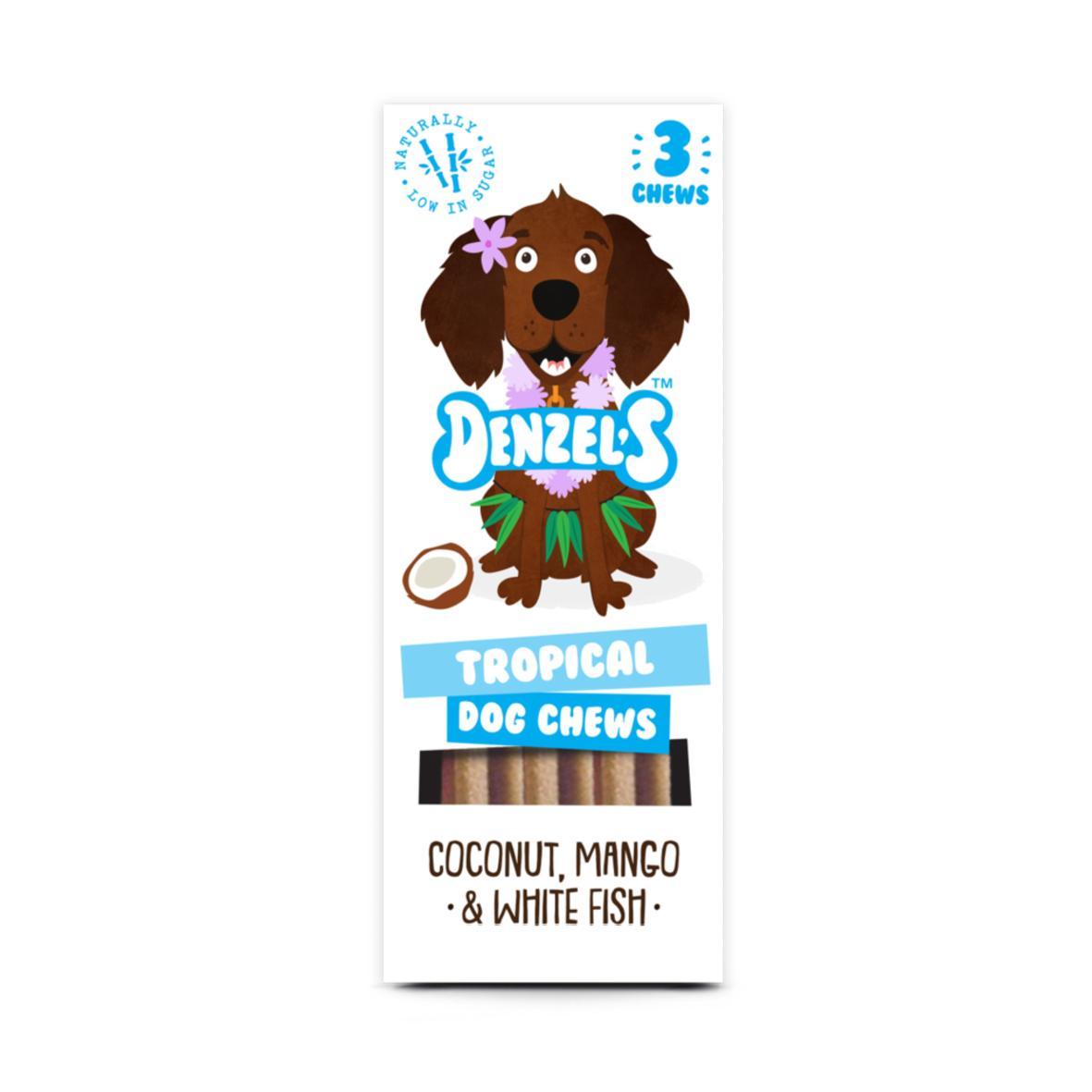 Denzels Tropical Dog Chews Coconut, Mango & White Fish 3pk