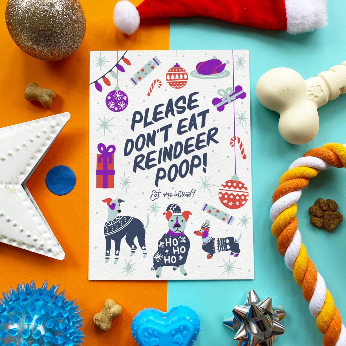 CLEARANCE Scoff Paper Edible Christmas Card 'Please Don't Eat Reindeer Poop' A5