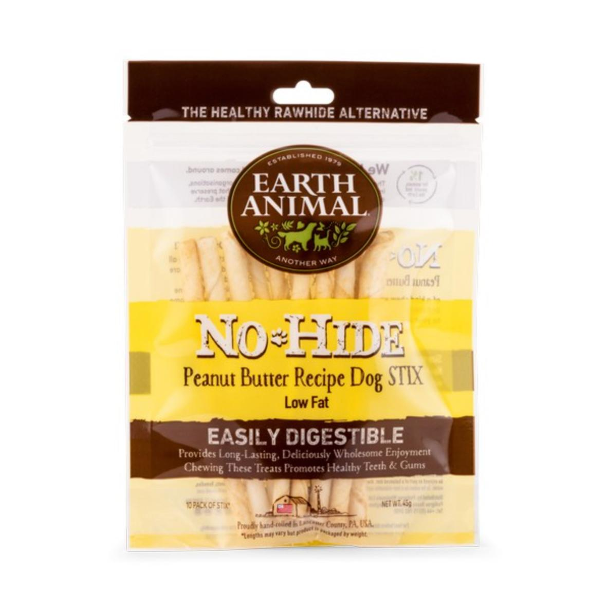 Earth Animal No-Hide Stix Peanut Butter 10pcs 45gm