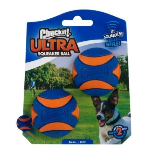 Chuckit Ultra Squeaker Ball Small 2pk 4.8cm