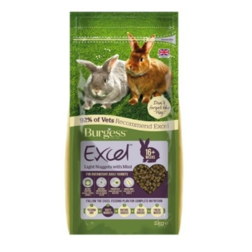 CLEARANCE Burgess Excel Light Rabbit Nuggets with Mint 2kg