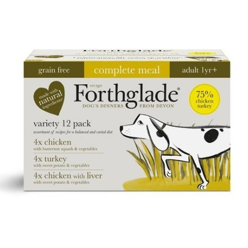 Forthglade Adult Complete Meal Grain Free Variety Pack 12x395g [Chicken, Turkey, Chicken with Liver]