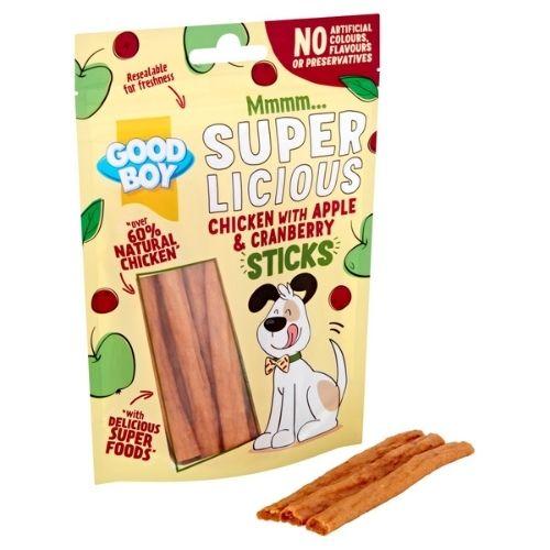 Good Boy SuperLicious Chicken with Apple & Cranberry Sticks 100g