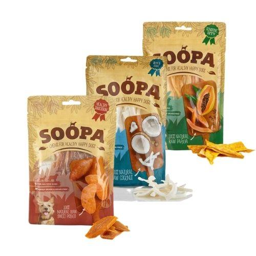 SOOPA Natural Chews Bundle Coconut, Sweet Potato & Papaya 3pk